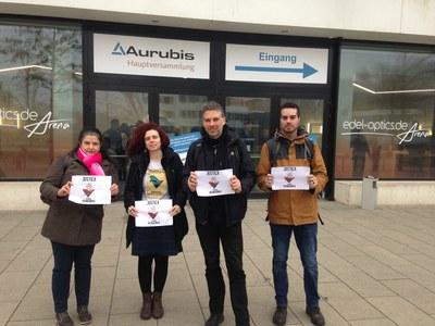 Aktivist*innen gegen VALE auf der Aktionärsversammlung von Aurubis in Hamburg