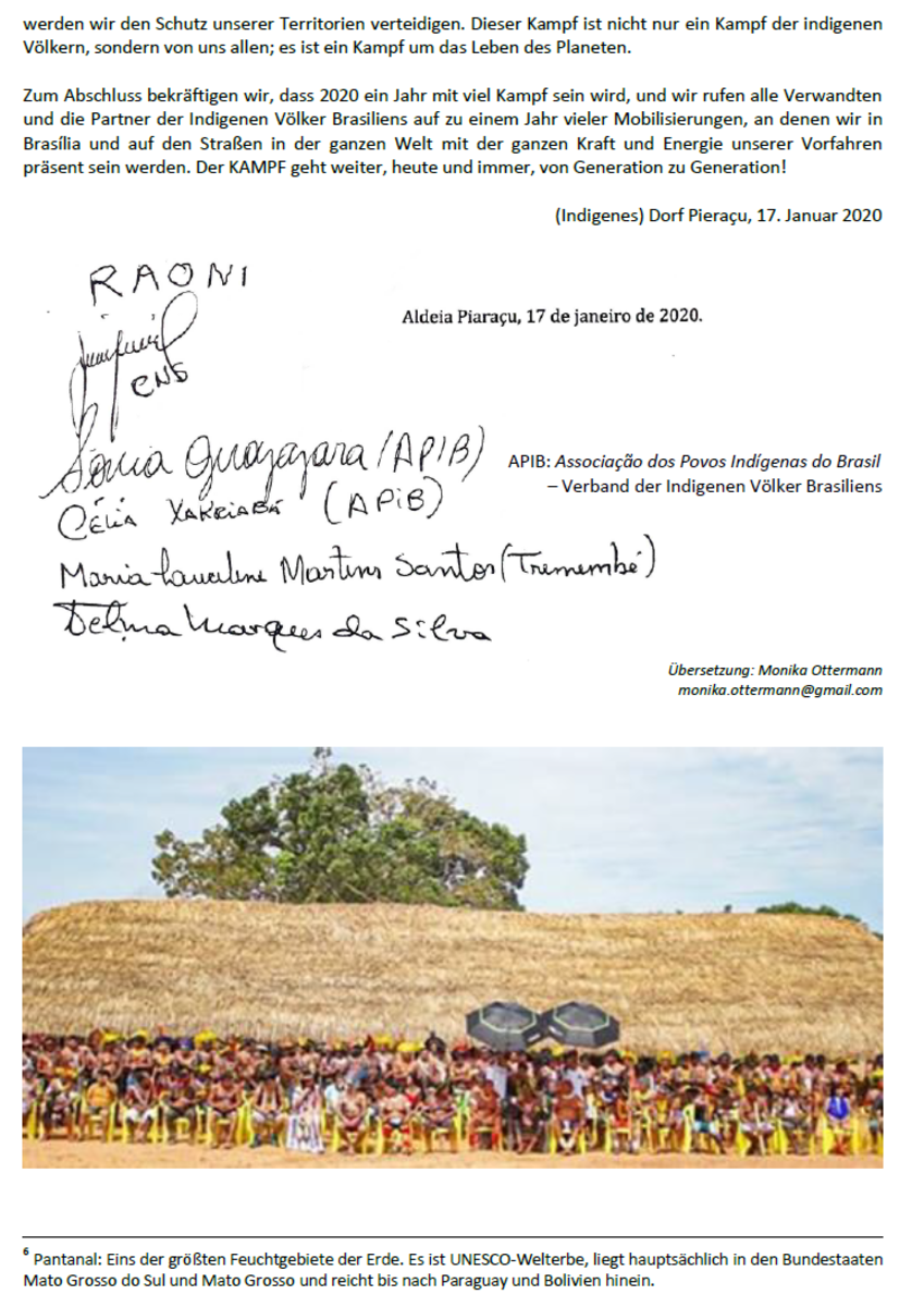 Manifest von Piaraçu - der indigenen Leitungspersonen und Kaziken in Piaraçu