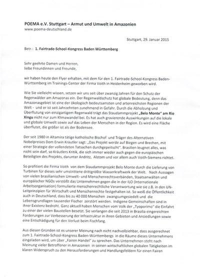 Protestbrief an die Orga des 1. Fairtrade-School-Kongress Baden Württemberg