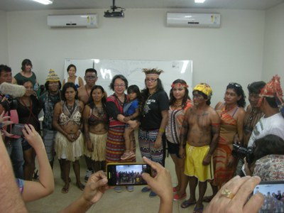 Munduruku wehren sich gegen den geplanten Bau der Bahnlinie Ferrogrão