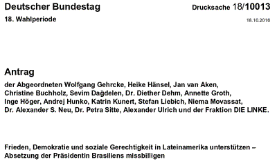 """Antrag im Deutschen Bundestag: """"Bundestag soll Rousseff-Amtsenthebung missbilligen"""""""