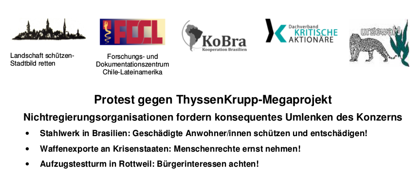 Protest gegen ThyssenKrupp-Megaprojekt