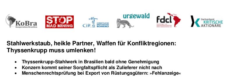 Stahlwerkstaub, heikle Partner, Waffen für Konfliktregionen: Thyssenkrupp muss umlenken!